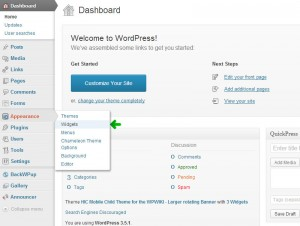 Screenshot showing where to access the Widgets management page.