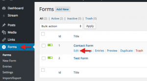Screenshot of form edit link